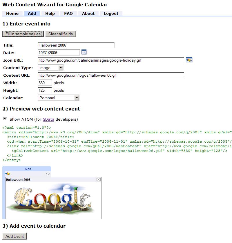 Web Content Wizard for Google Calendar